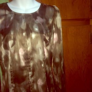 ❗️24 HR SALE❗️Brown and Tan Silk Top